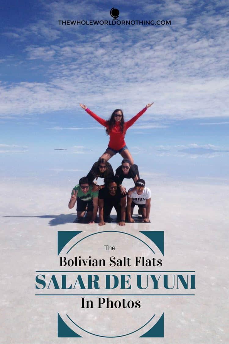 James and Sarah with friend at Bolivia Salt flats with text overlay THE BOLIVIAN SALT FLATS - Salar de Uyuni IN 21 STUNNING PHOTOS