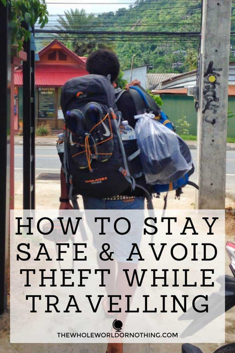 James backpacker with text overlay HOW TO STAY SAFE & AVOID THEFT WHILE BACKPACKING