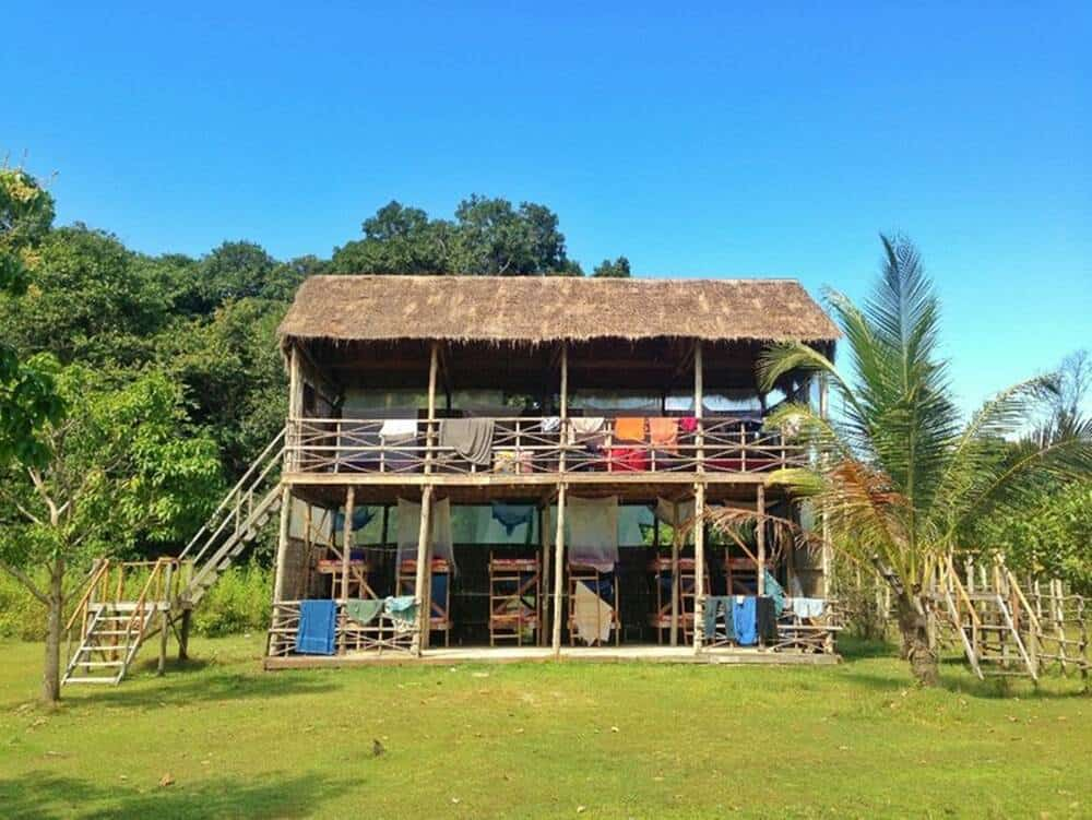 Nipa hut with bunk beds