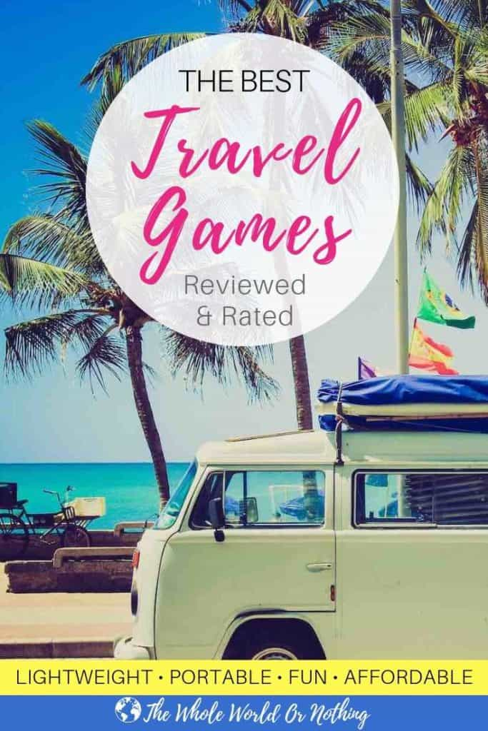 The Best Travel Games Pin with camper van background