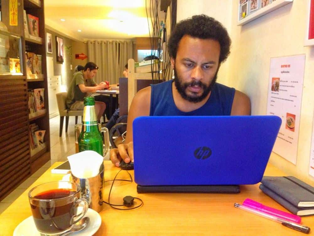 Jame on his laptop