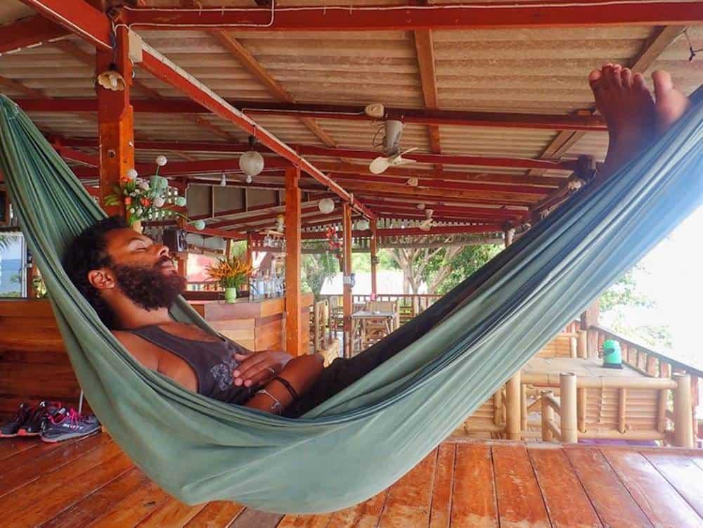 James on a hammock