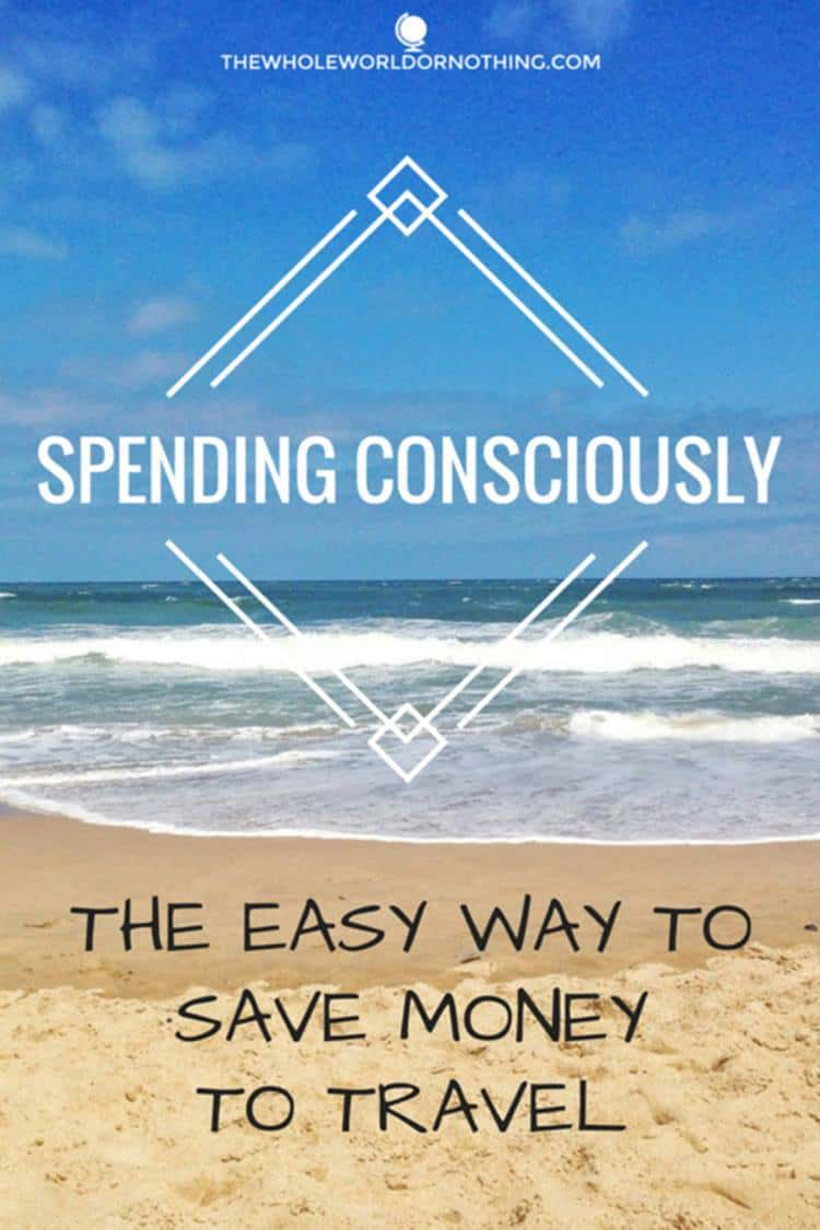 beach with text overlay SPENDING CONSCIOUSLY THE EASY WAY TO SAVE MONEY TO TRAVEL
