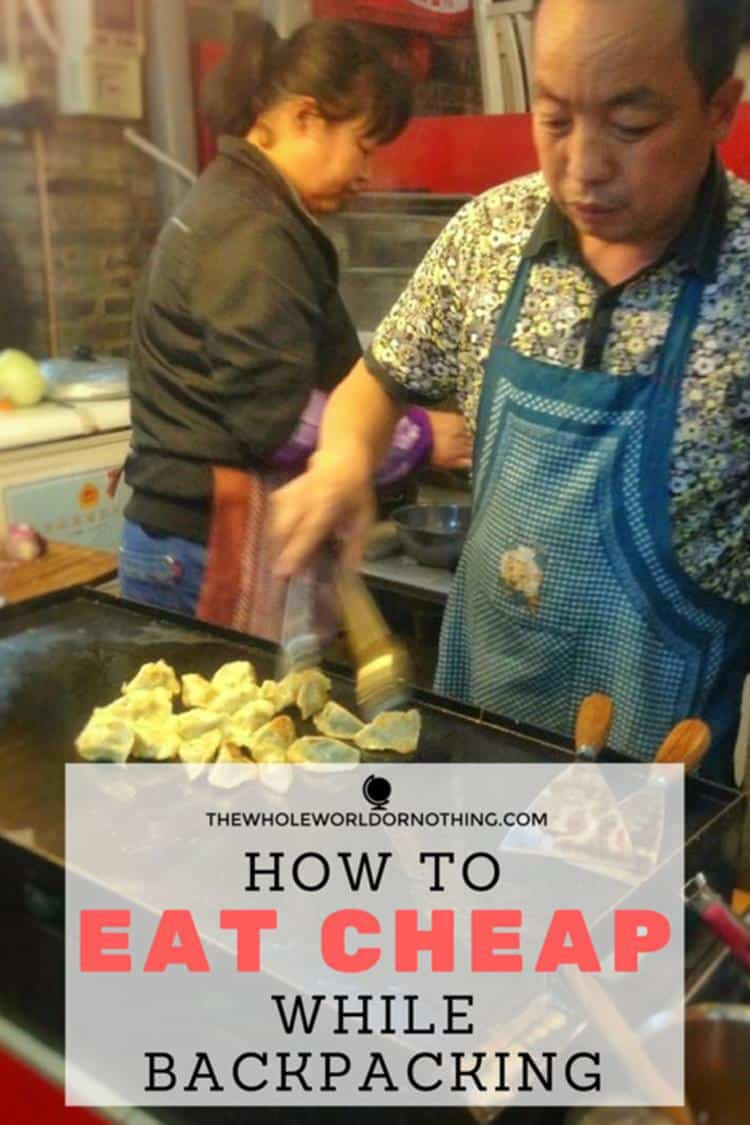 man cooking food with text overlay HOW TO EAT CHEAP WHILE BACKPACKING