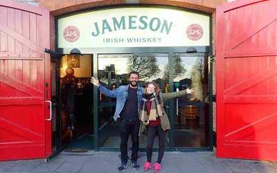 James and Sarah in front of Jameson Whiskey Distillery Midleton