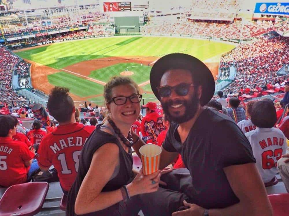 James and Sarah watching baseball in Japan