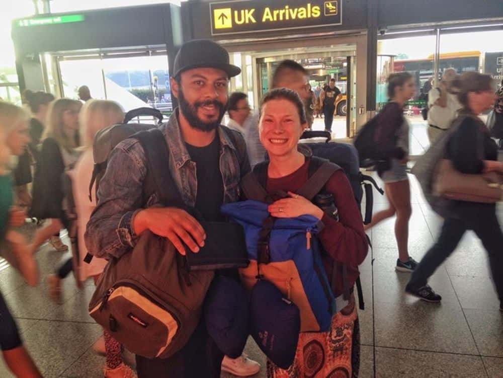 James and Sarah at the UK airport arrival