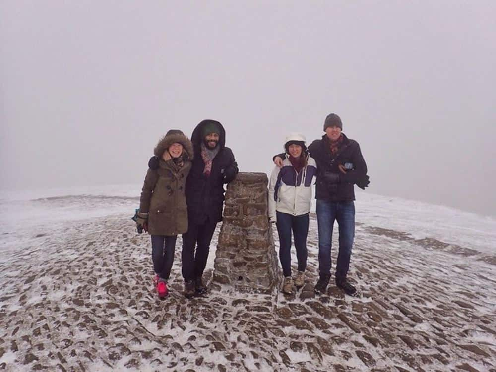 James and Sarah with friends in the snow