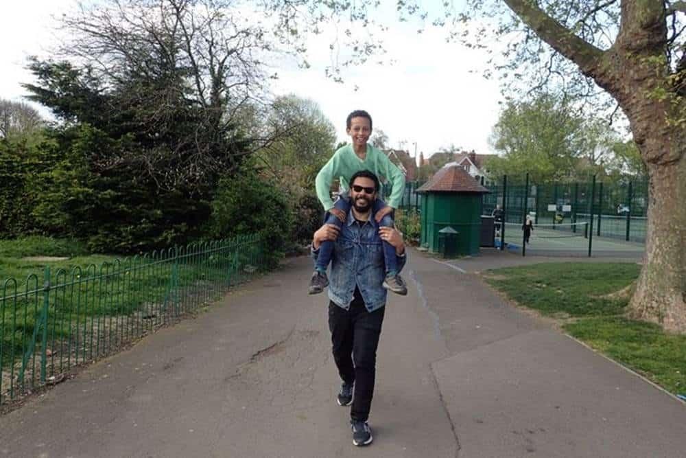 James with his nephew