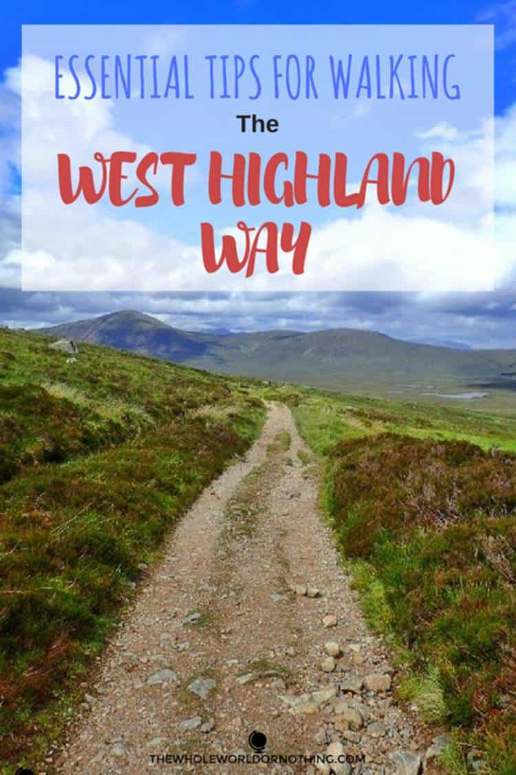 field and mountain view with text overlay Essential tipd for walking the West Highland Way
