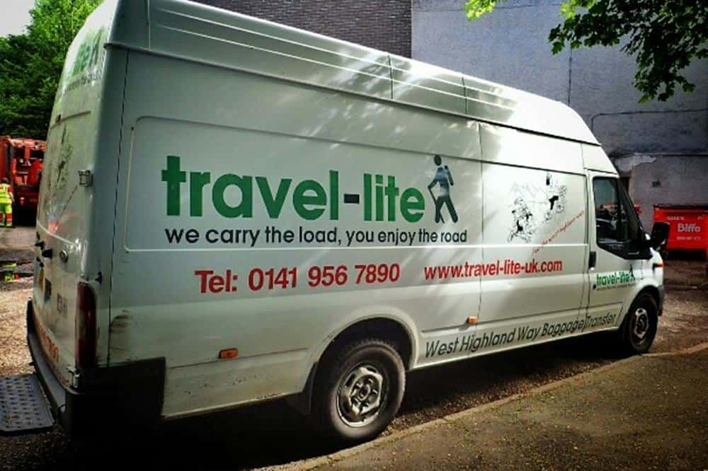 travel-lite West Highland Way baggage transfer service van