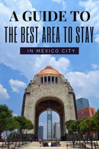 Monument to the Revolution with text overlay a guide to the best area to stay in Mexico City