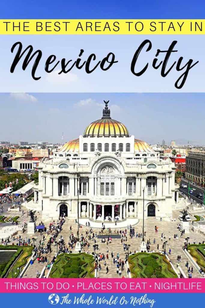 Bellas de Artes from above with text overlay The Best Areas To Stay In Mexico City