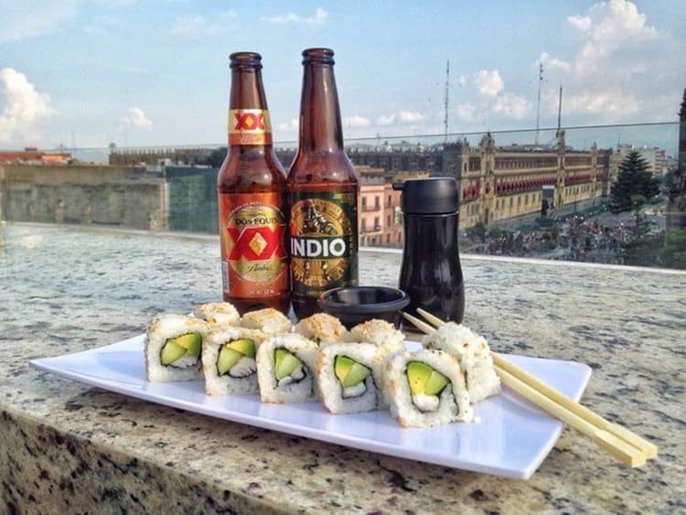 Beer and sushi overlooking Zocalo Mexico City
