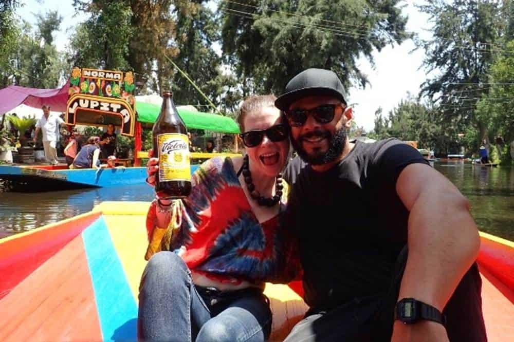 James and Sarah on a Xochimilco trajineras