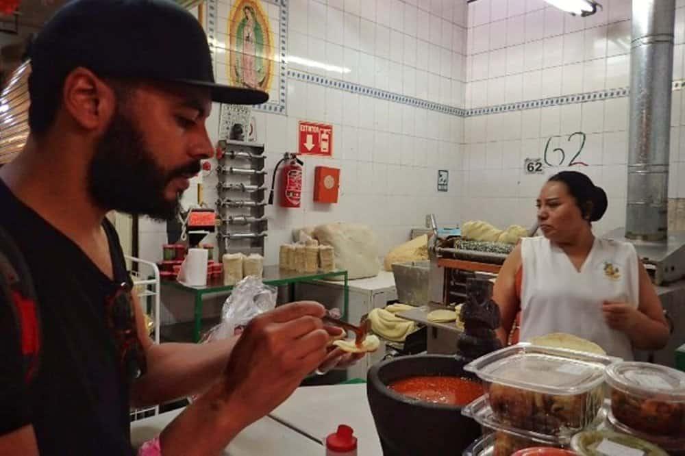 James buying taco