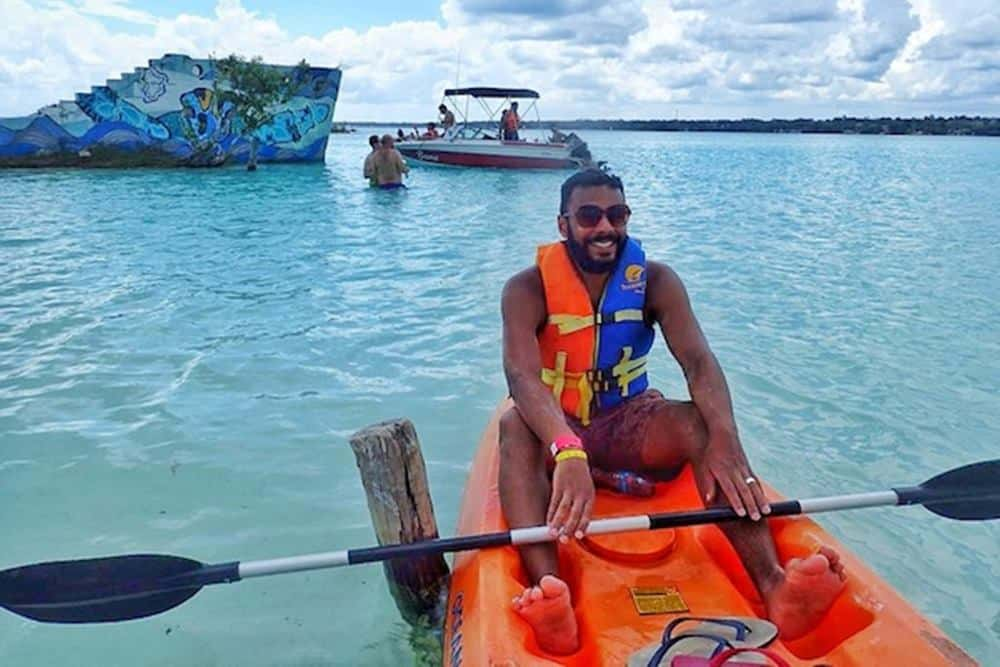 James In Bacalar Kayak