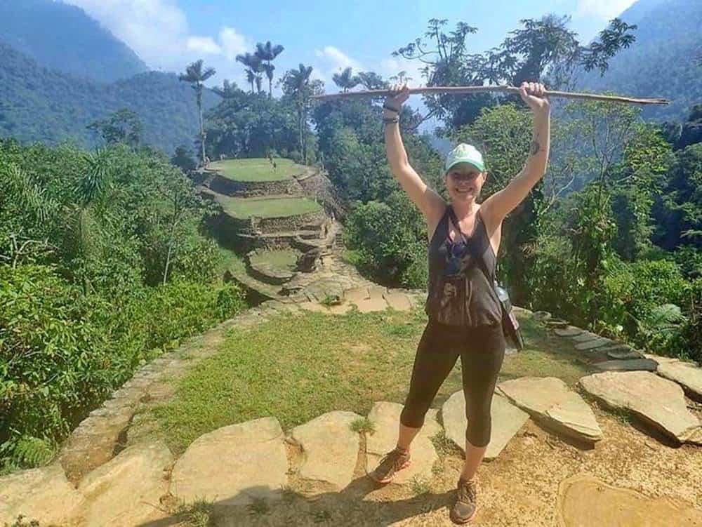 Sarah at the top of the mountain