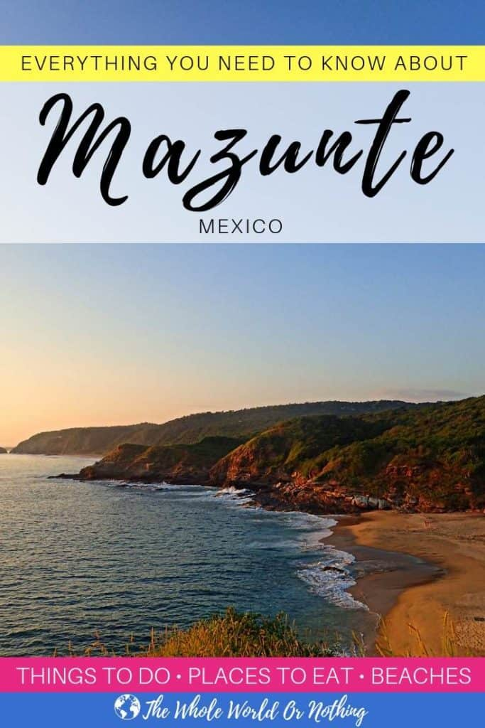 "photo of mermejita beach mazunte oaxaca with text overlay ""Everything You Need to Know About Mazunte Oaxaca Mexico"""