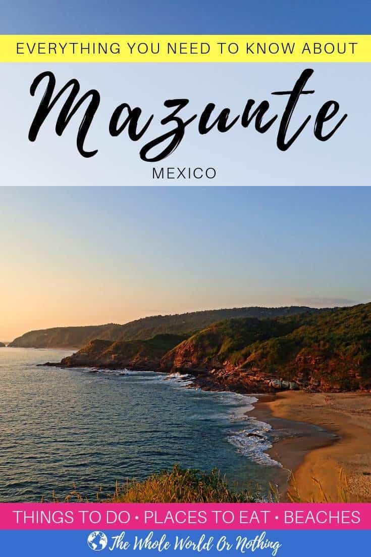 """photo of mermejita beach mazunte oaxaca with text overlay """"Everything You Need to Know About Mazunte Oaxaca Mexico"""""""
