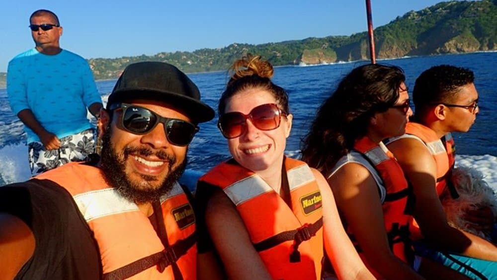 James and Sarah dolphin spotting on a boat Mazunte Oaxaca