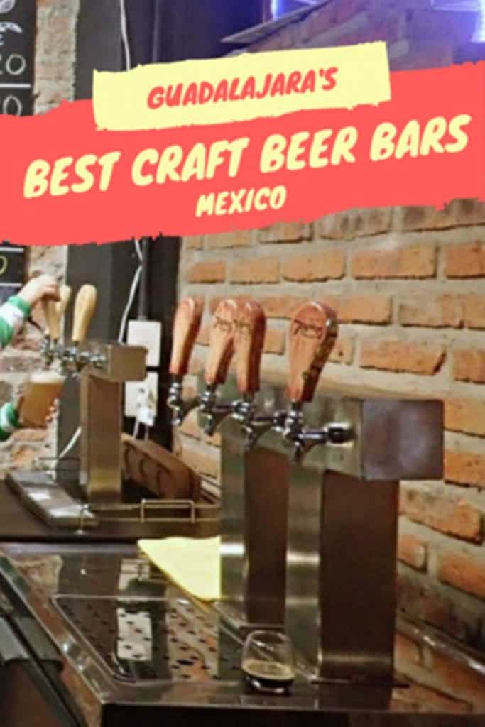 woman pouring beer with text overlay guadalajara's best craft beer bars mexico