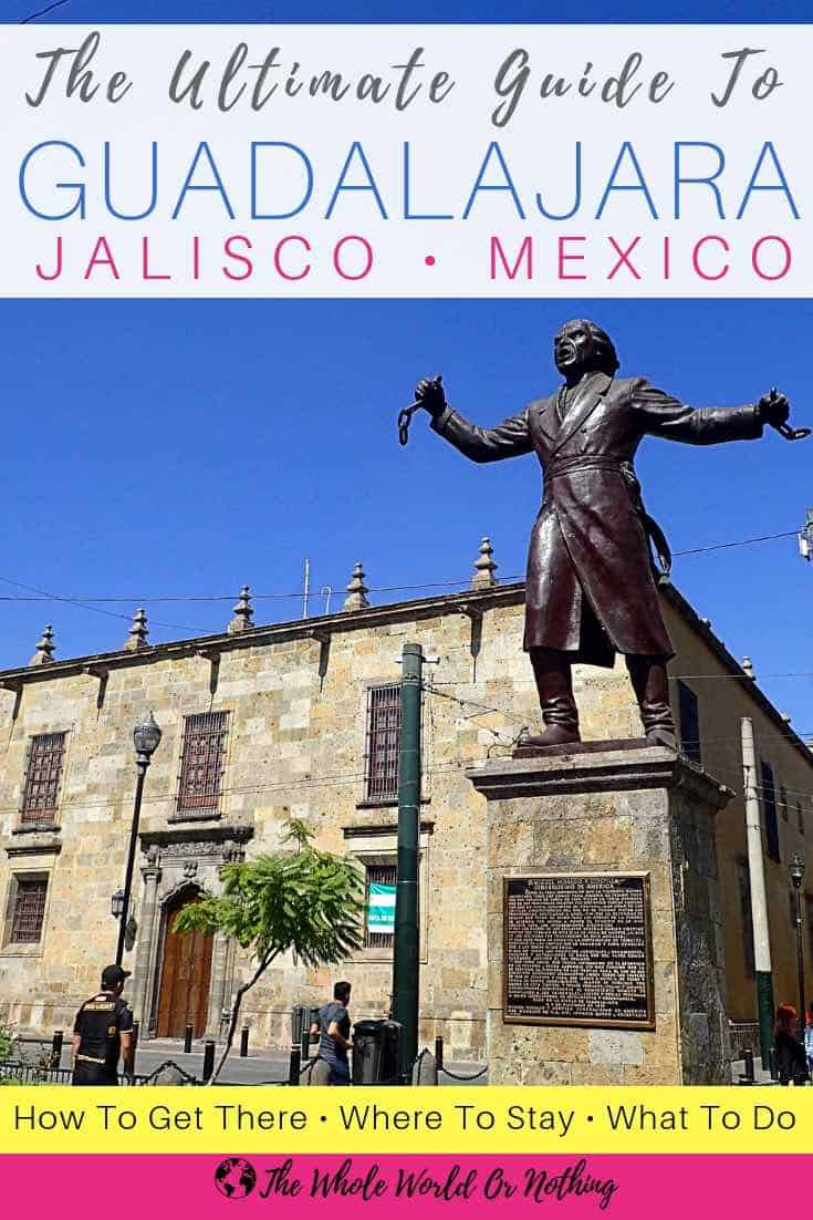 Miguel Hidalgo statue with text overlay The Ultimate Guide to Guadalajara Jalisco Mexico