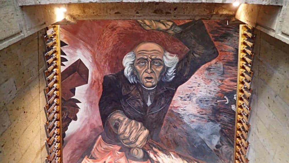 José Clemente Orozco mural of Miguel Hidalgo in Palacio de Gobierno