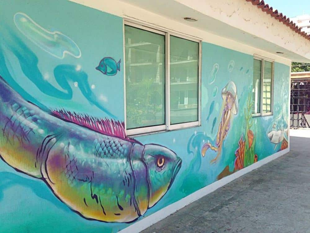 fish and jelly fish mural