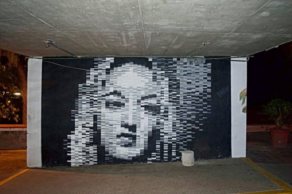 pixelated mural of a woman