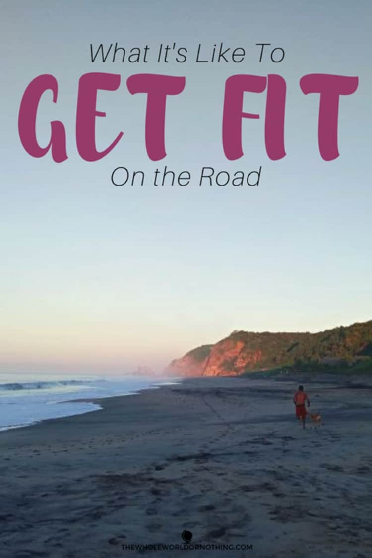 sunrise at the beach with text overlay what it's like to get fit on the road