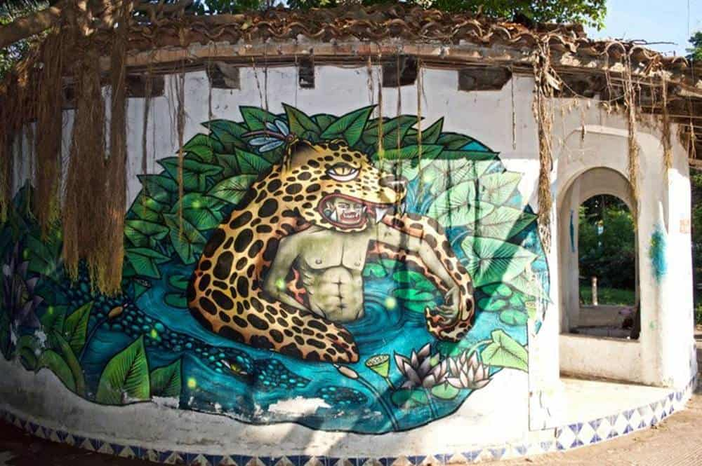 tiger and man mural