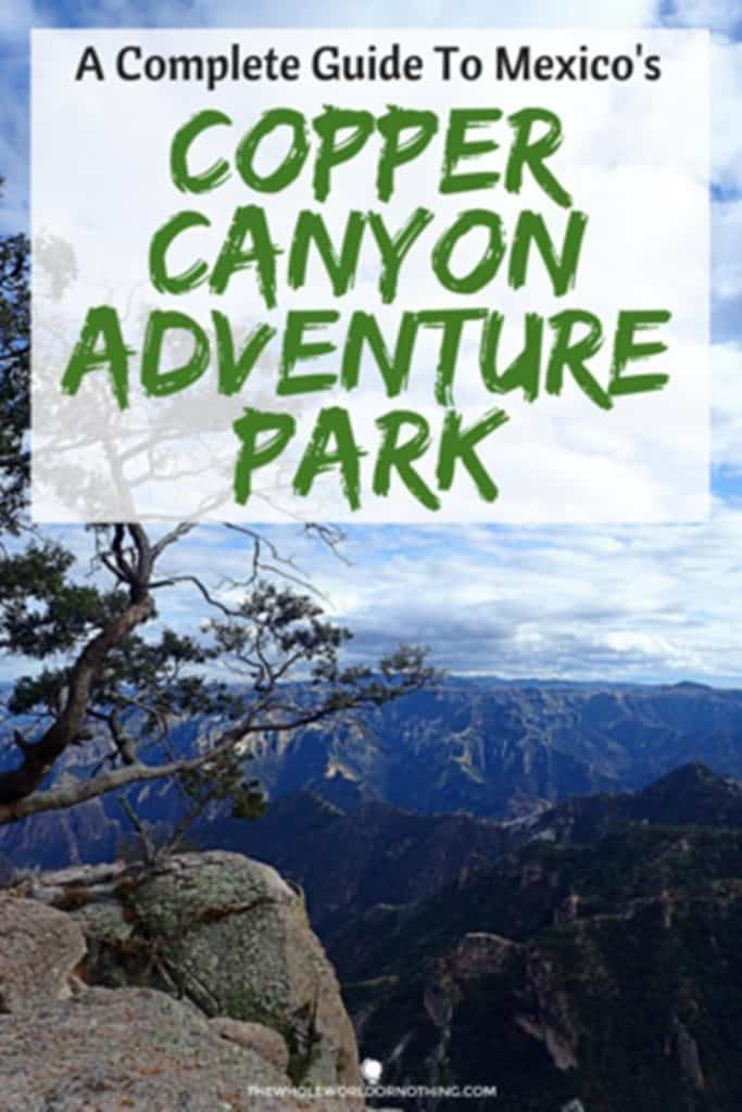 tree with mountain view with text overlay Complete guide to Mexico's Copper Canyon Adventure Park