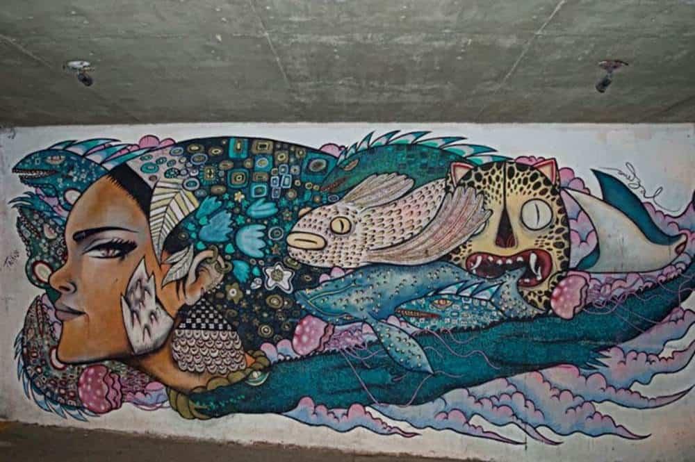 woman and fish mural