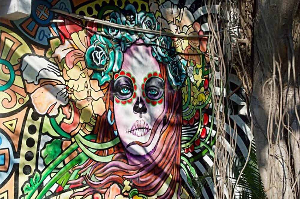 woman with flowers mural