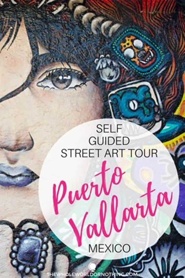 woman with ring mural with text overlay self guided street art tour puerto Vallarta Mexico