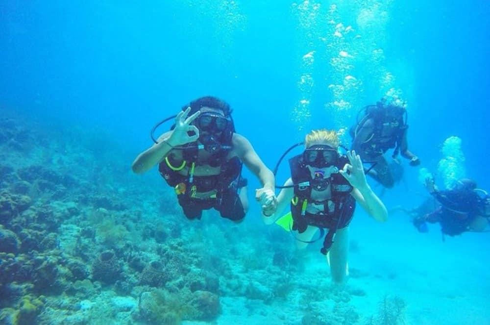 James and Sarah scuba diving