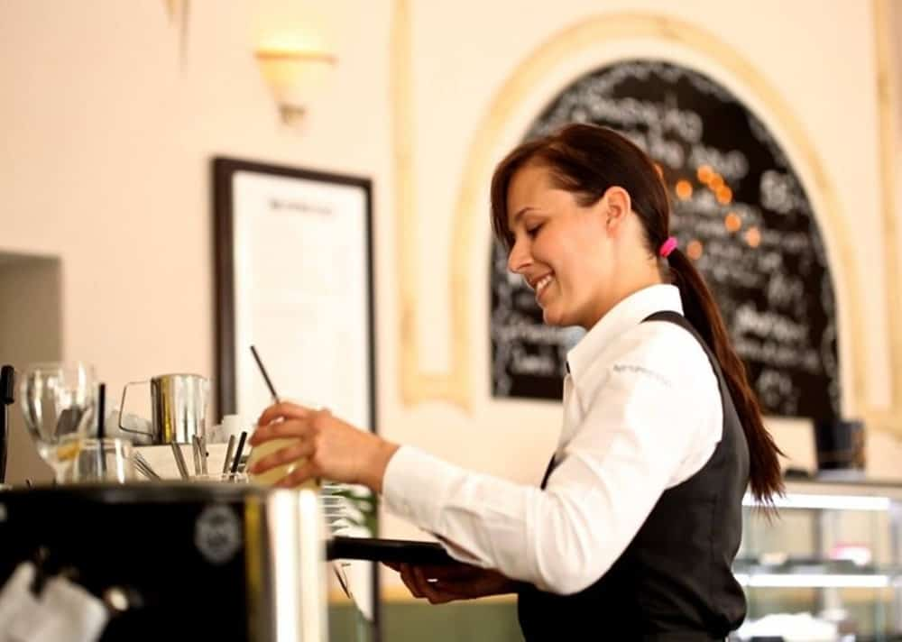 Woman working on a restaurant