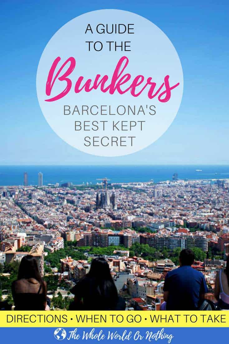 Aerial view of Barcelona from the Bunkers with text overlay A Complete Guide to The Bunkers Barcelona