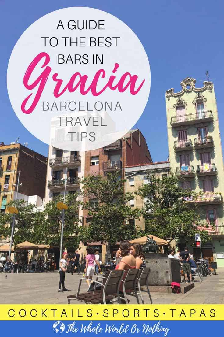 People sat in placa del sol with text overlay A Guide To The Best Bars In Gracia Barcelona