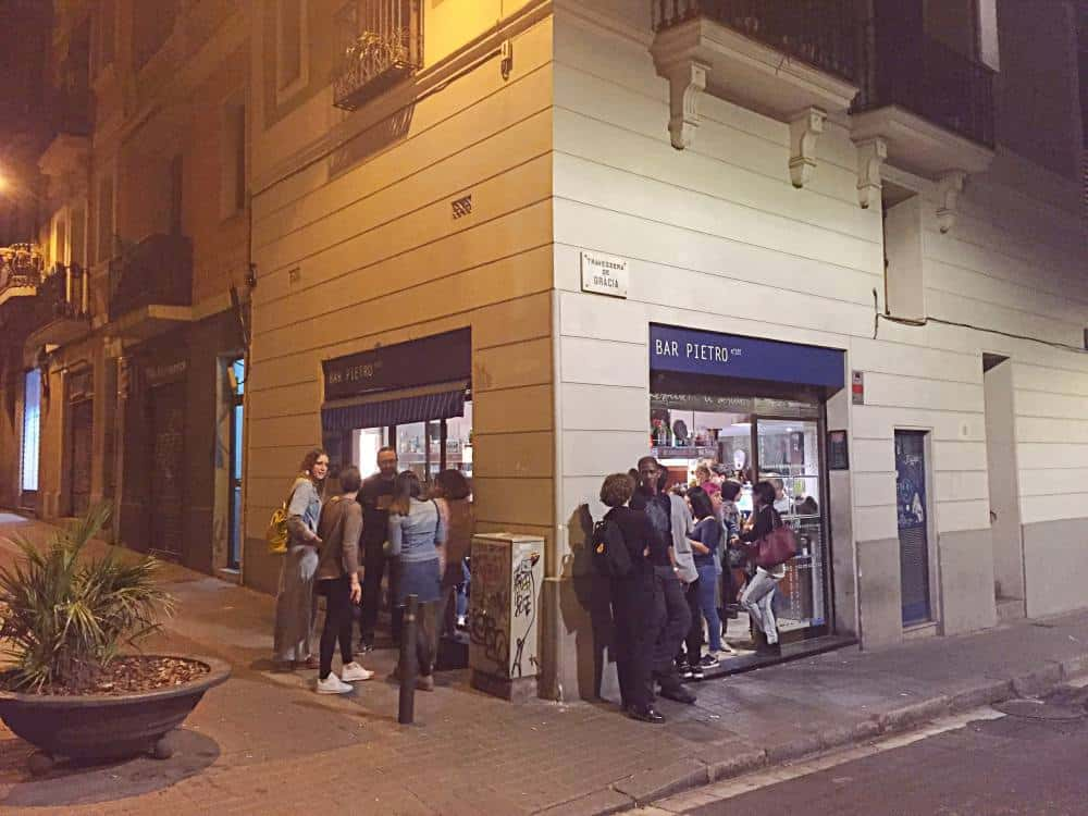 Crowd outside Bar Pietro in Gracia Barcelona