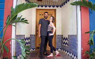 Sarah and James in a doorway