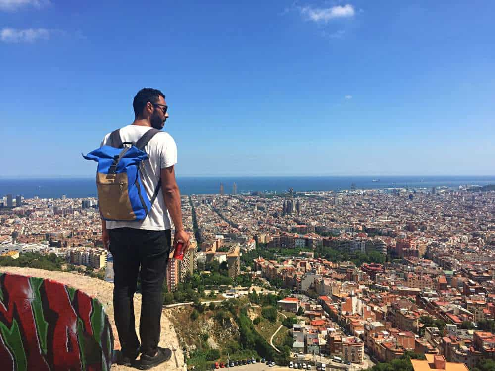 James standing on Bunker Barcelona with amazing views