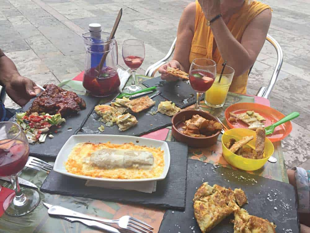 Eating tapas outside at Sol de Nit in Gracia Barcelona
