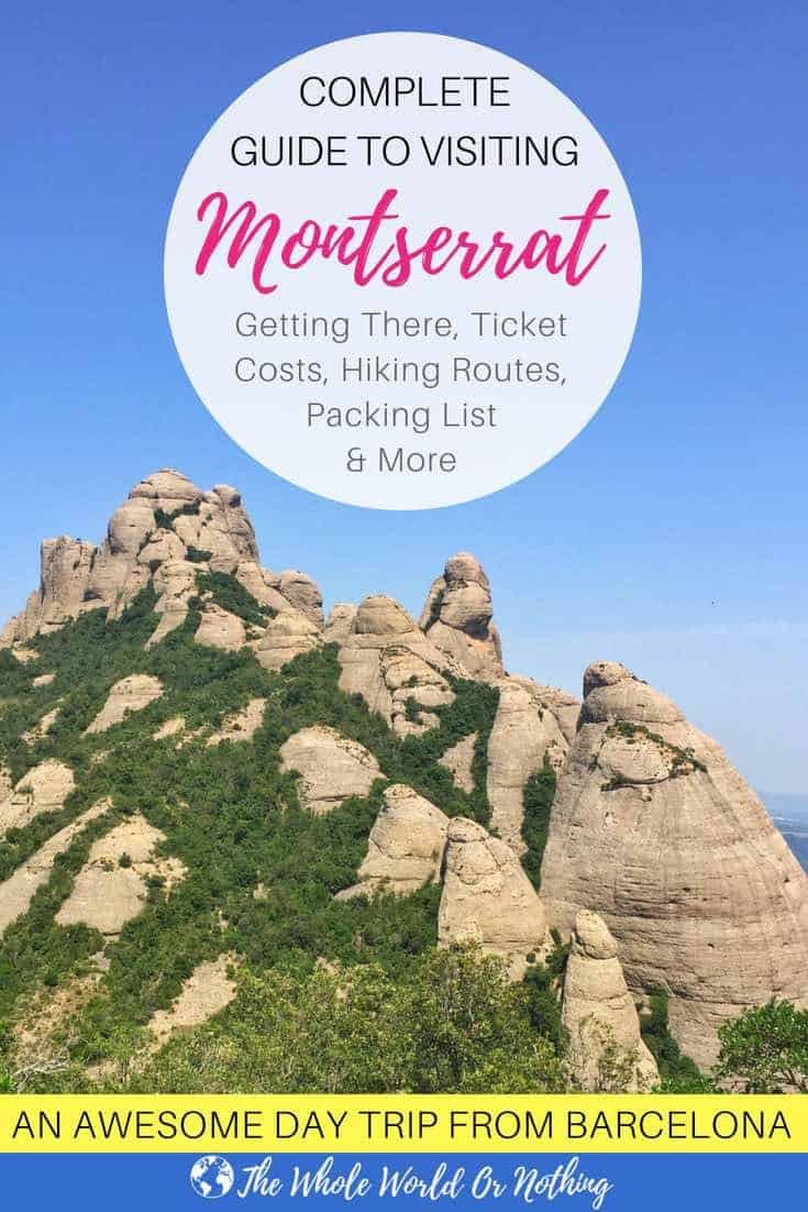 Montserrat Mountain Range with text overlay Complete Guide To Visiting Montserrat Barcelona Day Trip