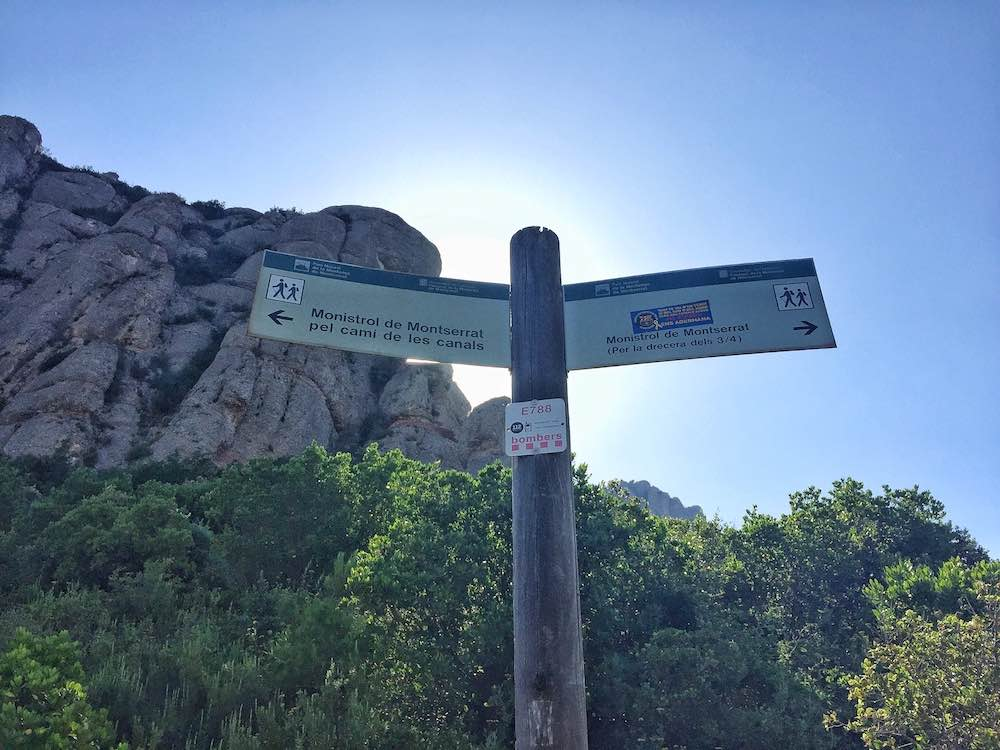 Confusing Signposts on Montserrat Barcelona Hike