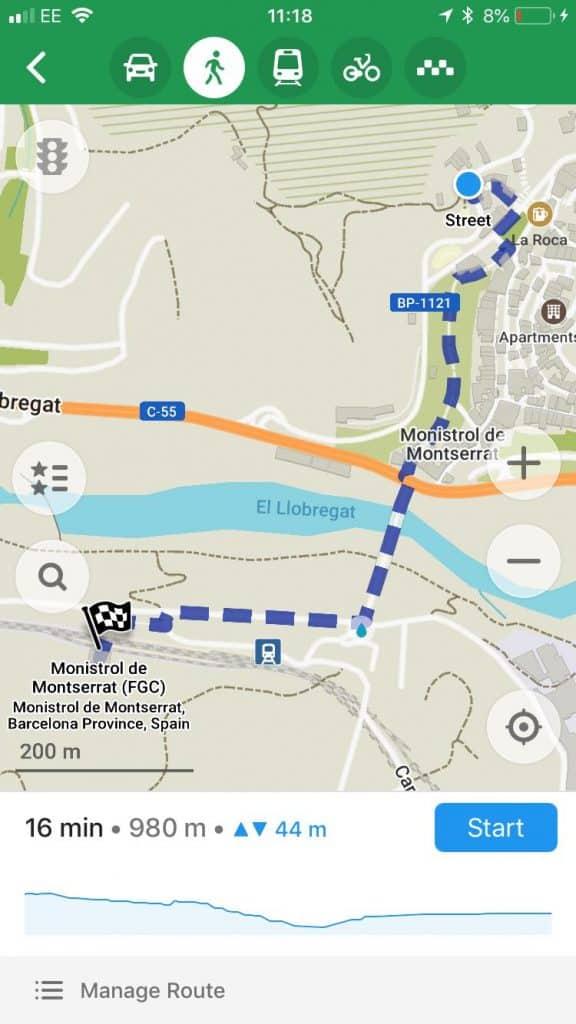 Hiking Route Monistrol de Montserrat to Monastir de Montserrat