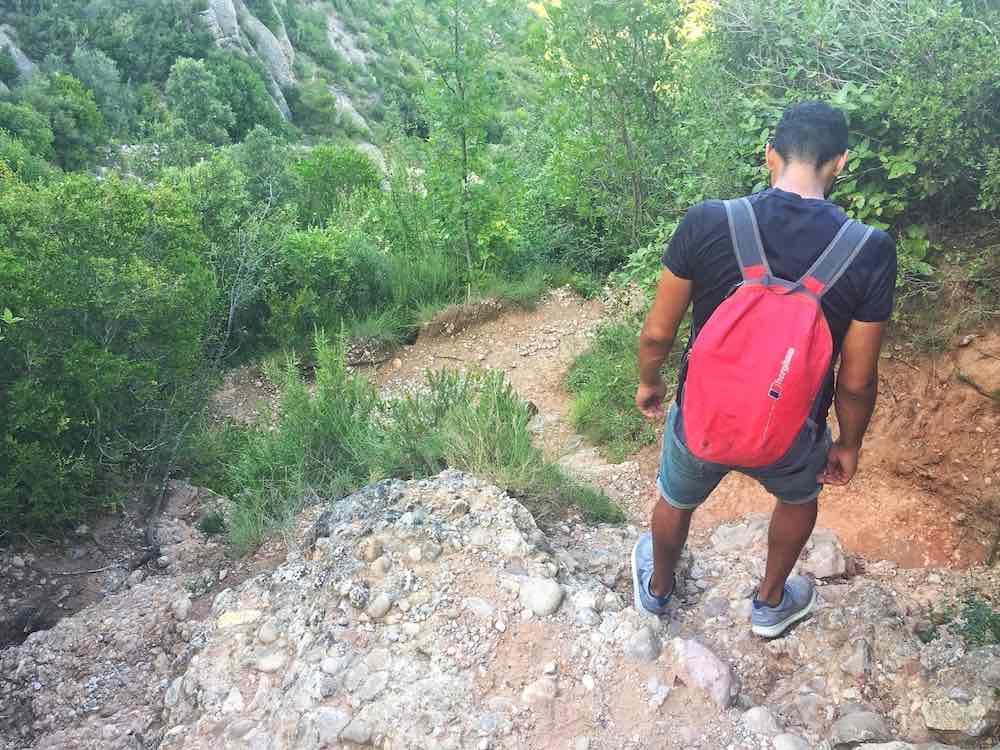 Hiking back down Montserrat Barcelona Hike
