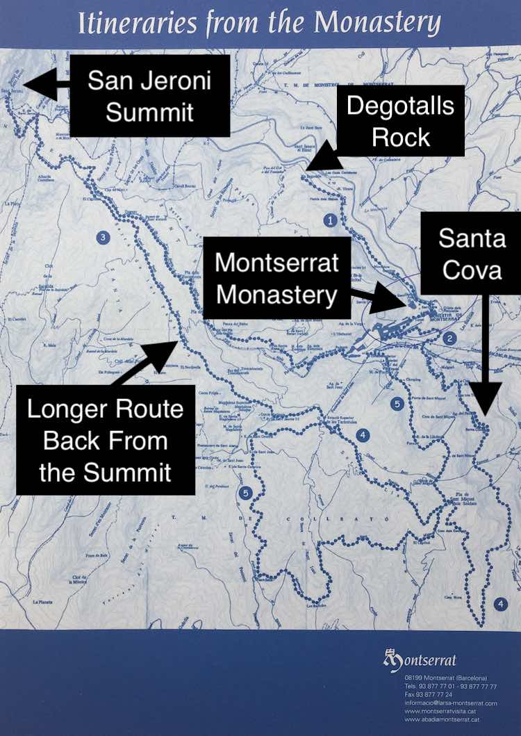 Montserrat Hiking Map