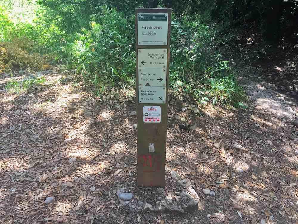 Montserrat Hiking Trails Signpost to Summit